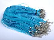 Náhrdelník organza + voskovaná šnúrka / modro-tyrkysový