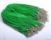 Náhrdelník organza + voskovaná šnúrka / zelený / Emerald