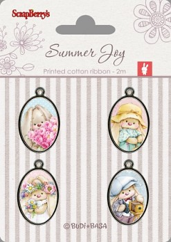 Set of metal elements with epoxy stickers / Summer Joy 1