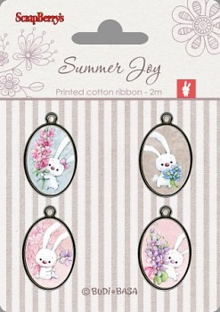 Set of metal elements with epoxy stickers / Summer Joy 4