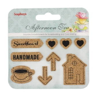 Set of cork stickers / Afternoon Tea 2