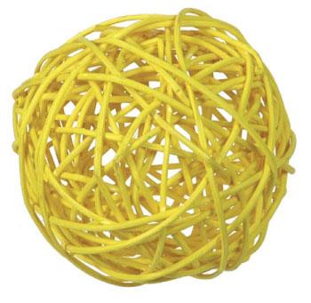 Rattan ball 5 cm / 4 pcs / yellow
