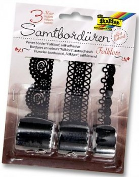 Adhesive lace tape / black