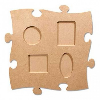 MDF fotorámik puzzle so 4 okienkami / 24 x 24 cm