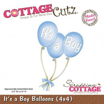 Kovová šablóna - It's a Boy Balloons (4x4)