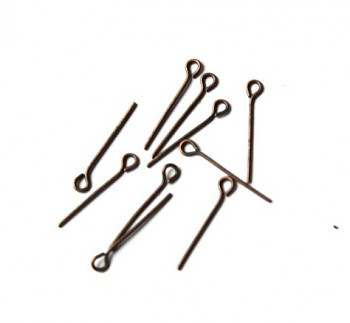Eyepins / 20 pcs / 20mm / old copper