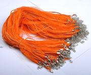 Náhrdelník organza + voskovaná šnúrka / oranžový