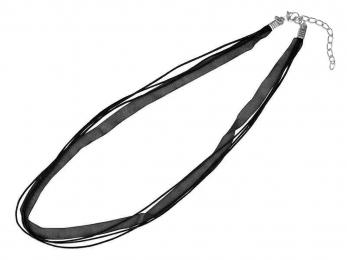 Náhrdelník organza + voskovaná šnúrka / čierny